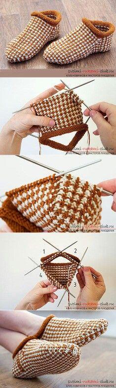 Aprendemos a tejer por los rayos las zapatillas para los principiantes por la cinta zhakkard por poshagovoy las instrucciones con la foto y los esquemas gratis // ирина кубасова Gilet Crochet, Knitted Slippers, Crochet Slippers, Knit Or Crochet, Knitting Socks, Knitting Needles, Hand Knitting, Knitting Projects, Crochet Projects