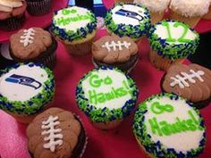 Seattle Seahawks 12th Man Cupcakes & Where to Find Them! #12thMan #Seahawks  Photo: Wanna, Cupcake?