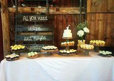rustic wedding dessert table cupcakes