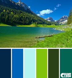 Color Palette, navy blue, royal blue, azure, sea green, dark green, lawn green.