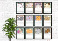 calendario de gatos gatuno de ilustración japonés imprimible para el año nuevo 2017 doy