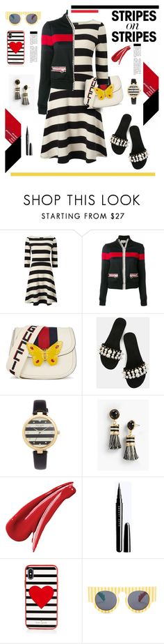 """""""Pattern Challenge: Stripes on Stripes"""" by hamaly ❤ liked on Polyvore featuring Gucci, Kate Spade, Talbots, Le Specs, outfit, ootd, stripesonstripes and PatternChallenge"""