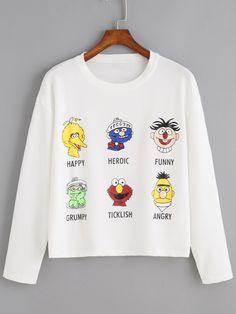 09e8bd71b84 Cartoon Print White Sweatshirt Sweatshirts Online