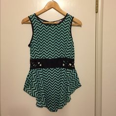 Chevron Mint Green top Chevron top Mint and Black - open at waist line . Never worn. Size medium Eye candy Tops