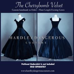 Midnight Navy Blue VELVET Ballgown handmade by by MoonbootStudios