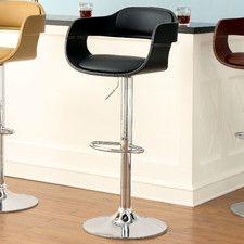 Ryanne Adjustable Height Swivel Bar Stool with Cushion