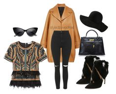 """""""Untitled #382"""" by styledbyveefree ❤ liked on Polyvore featuring Rochas, BCBGMAXAZRIA, Hermès, Topshop and Paul Andrew"""