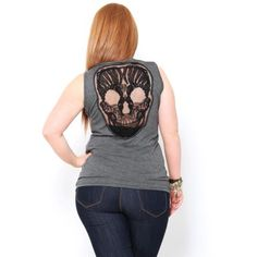Plus Mesh #Skull Back Tank Top