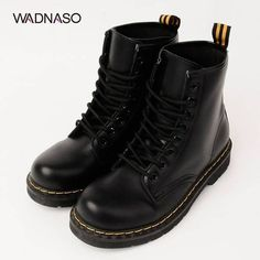 WADNASO Pu Martin Motorcycle Lace Up Martin Boots ($16) ❤ liked on Polyvore featuring shoes, boots, platform shoes, laced boots, black lace up shoes, black platform shoes and black laced boots