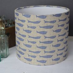 Little Fish Linen Drum Lampshade
