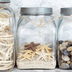Make a memory jar with the shells and rocks they collected on the beach or on a hike. Coastal Style, Coastal Decor, Coastal Living, Seaside Decor, Coastal Cottage, Uses For Mason Jars, Deco Marine, Vacation Memories, Summer Memories