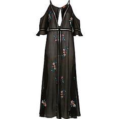 Black floral cold shoulder maxi beach dress