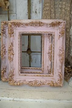 Shabby chic pink frames soft muted colors gold accent lightweight resin good size wall decor Anita Spero Kirby-not a super Pinky person…but LOVE this frame shabby chic do-over! Shabby chic pink frame soft muted colors gold by AnitaSperoDesign Shabby Chic Mode, Shabby Chic Pink, Shabby Chic Bedrooms, Shabby Chic Kitchen, Vintage Shabby Chic, Shabby Chic Style, Shabby Chic Furniture, Shabby Chic Decor, Vintage Home Decor