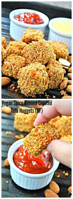 Vegan Spicy Almond Crusted Tofu Nuggets