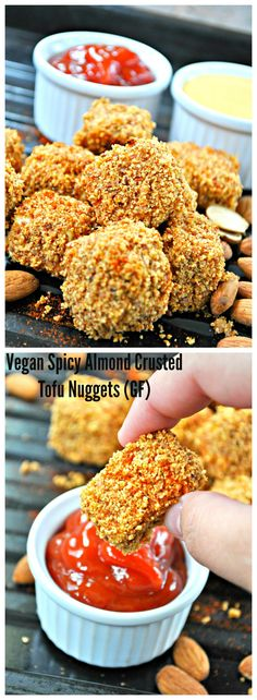 Vegan Spicy Almond Crusted Tofu Nuggets