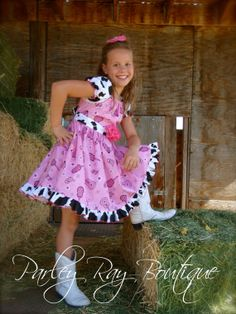 Parley Ray Pink Cow Cowgirl Peasant Style Twirling by ParleyRay, $75.00
