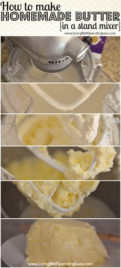 How to make homemade butter in a stand mixer--I cant believe how easy this is! It makes buttermilk too!