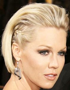 Jennie Garth strikes a pose with a hint of a side braid and gorgeous highlights.