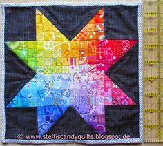 ...just Quilts: Mini Rainbow Star Quilt is finished