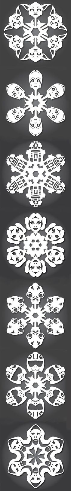 Add some nerdy flair to your winter decorations with these Star Wars themed snowflakes. #snowflakes #starwars #winter
