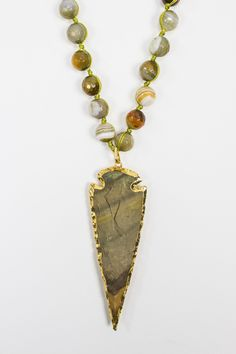 Arrowhead Pendant on Agate and Pearl Necklace