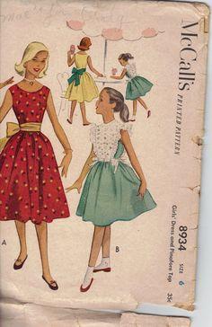 1950's McCall's Sewing Pattern 8934, Girls' Size 6 dress