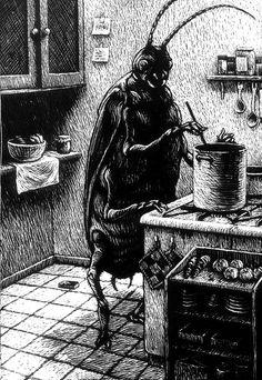 "miscellaneous-art: "" Nowadays Gregor Samsa have a normal life… Link ; Link From Cinema Panopticum by Thomas Ott "" Arte Horror, Horror Art, Dark Fantasy, Fantasy Art, Arte Peculiar, Arte Obscura, Psy Art, Scratchboard, Creepy Art"