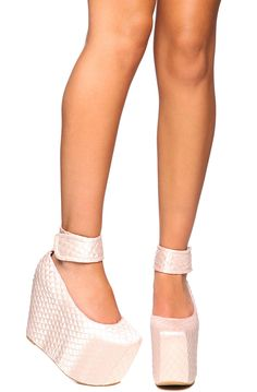 Jeffrey Campbell The Pointe Platform in Quilted Pink Satin3