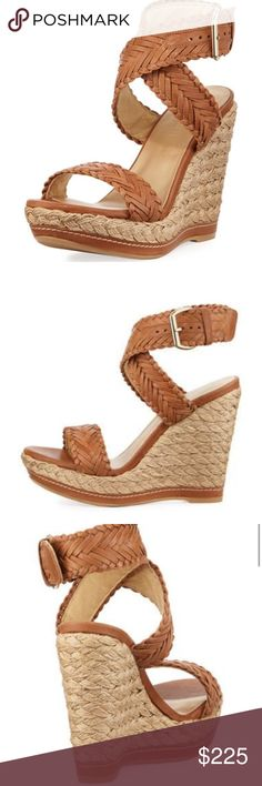 """Stuart weitzman remedy leather braided wedge Stuart Weitzman woven leather sandal. 5"""" braided jute wedge heel; 1.5"""" platform; 3.5"""" equiv. Strap bands open toe. Crisscross strappy vamp. Adjustable ankle wrap. Padded footbed. Rubber sole. Worn once. Stuart Weitzman Shoes Sandals"""