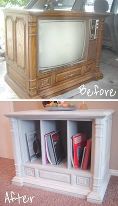An old TV turned into a living room hutch!! -- Easy DIY furniture makeovers and ideas! A lot of repurposed thrift store projects and chalk paint ideas so that you can do it for cheap. Before and after photos of dressers, tables, shelves, tv stands and more! For bedrooms and living rooms. Listotic.com