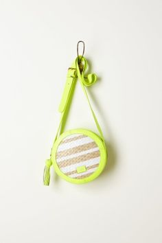 Plaited Straw Canteen Bag - LOVE LOVE LOVE #neon
