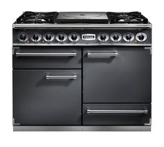 Falcon 1092 Cook Top Dual Fuel Slate/Nickel Range Cooker with Matt Pan Supports