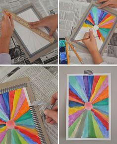DIY Sunburst paintings - beautiful art project for kids! SmallforBig.com