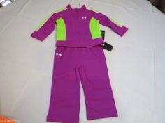 Under Armour Girls 2 pc Tracksuit Jacket Pants active Strobe purple 2T toddler*^