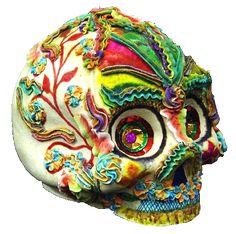 Mexican Folk Art Skulls | Alfeñique paste skull by Wenceslao Rivas Contreras, British Museum