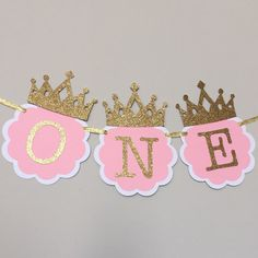 Pink And Gold High Chair Banner First Birthday Decorations ONE Party Little Princess Smash Cake