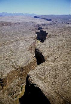 Aerial photo of Santa Elena Canyon, TX
