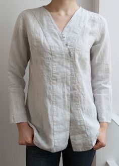 Asymmetrical linen button up blouse