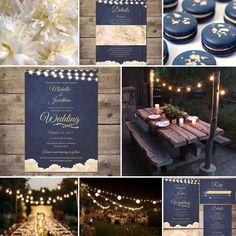 Navy gold wedding invitation with white peony flowers and string lights for a rustic outdoor or garden wedding moodboard inspiration