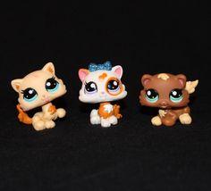 Lot of 3 Littlest Pet Shop PETRIPLET KITTENS #2326 #2327 #2328 Cat Glitter RARE! #Hasbro