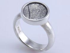 Custom Handmade Fingerprint Ring, Sterling Silver Signet
