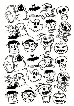 Petits personnages d'Halloween, un Doodle sympa à colorierA partir de la galerie : Halloween, Halloween Cartoons, Easy Halloween Drawings, Halloween Doodle, Easy Drawings, Halloween Kids, Zombie Drawings, Halloween Graveyard, Halloween 2018, Halloween Costumes