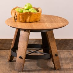 Repurposed Wine Barrel Head Side Table | VivaTerra