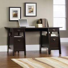 This one is nice even though not balck - dark mocha Three Posts Writing Desk & Reviews   Wayfair Supply