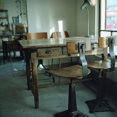 Love the industrial table cafe with antique furniture* by Momota. M on Flickr.