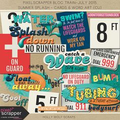 Free Summer Splash Cards and Wordart | Holly Wolf Scraps | July 2015 Pixel Scrapper Blog Train
