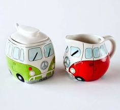 Cute VW kitchen or table accessories. Sugar and cream dishes painted to look like VW cars. 8 Volkswagen Accessories to Show Off Your VW Pride   Luther Brookdale Volkswagen