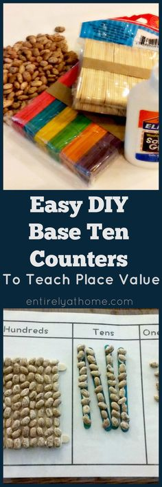 Easy DIY Base Ten Counters with a free Printable Place Value Work Mat! Math Activities For Kids, Math For Kids, Hands On Activities, Fun Math, Math Resources, Preschool Projects, Teaching Strategies, Classroom Activities, Preschool Ideas