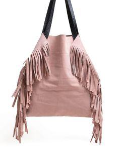 ad07efba8 Bolsa de couro franjas Mary Rosa claro - LEPRERI Handmade Leather fringe  handbag pink Franja De