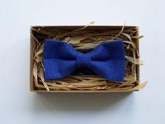 Blue Men's Bowtie / Navy blue bow tie Linen Bow by ArtOfLithuania